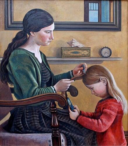 Απαλλαγείτε από ψείρες και κόνιδες - Γυναίκα βουρτσίζει τα μαλλιά της κόρης της