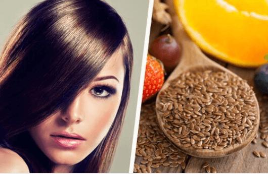 Νερό από λιναρόσπορο - Γυναίκα με λαμπερά μαλλιά και ένα μπολ με λιναρόσπορο