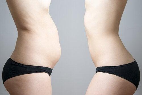 Νερό μελιτζάνας - Γυναικεία κοιλιά με παχάκια και χωρίς