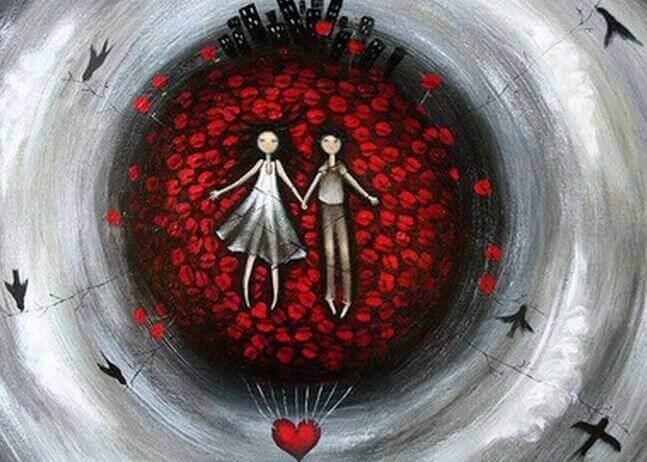 Ο θρύλος του κόκκινου νήματος - Κοπέλα και αγόρι σε καρδιές