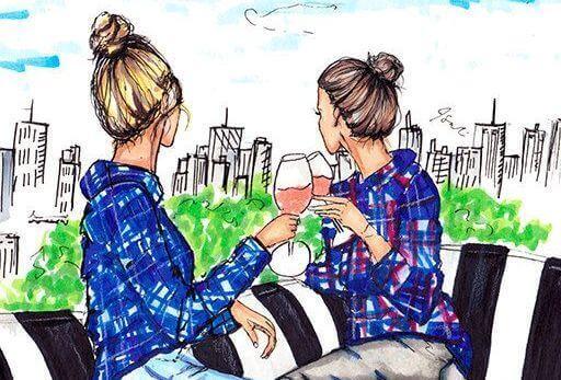 Η αδελφή μας - Δύο αδελφές πίνουν κρασί