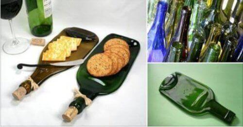 Φτιάξτε ένα μοναδικό δίσκο για σνακ από ένα γυάλινο μπουκάλι