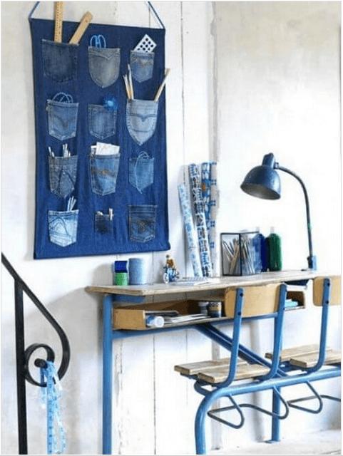 νέες χρήσεις για τα παλιά παντελόνια τζιν σας - οργάνωση τοίχου