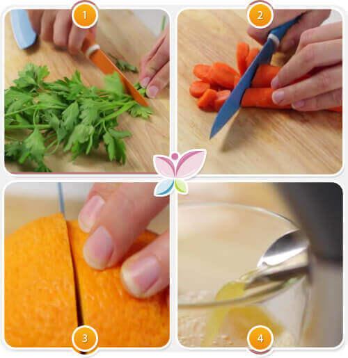 Χυμός από καρότο - Λεμόνια, καρότα και μαϊντανός βήματα