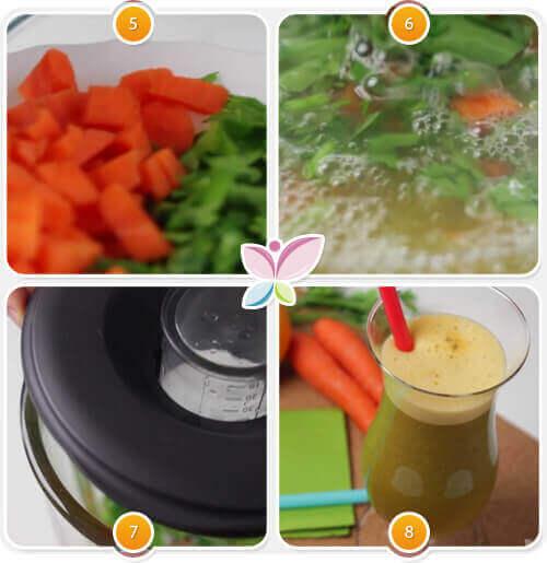Χυμός από καρότο - Παρασκευή χυμού βήματα