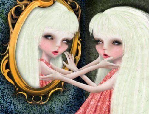 Γυναίκα νάρκισσος, κοιτάζει τον εαυτό της στον καθρέφτη