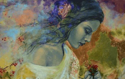 συναισθηματικό σφουγγάρι Γυναίκα με λουλούδι μέσα σε χρώματα