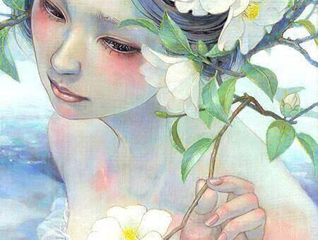 συναισθηματικό σφουγγάρι Γυναίκα με λουλούδι