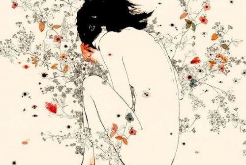 Γυναίκα μέσα σε λουλούδια εξαρτημένοι άνθρωποι
