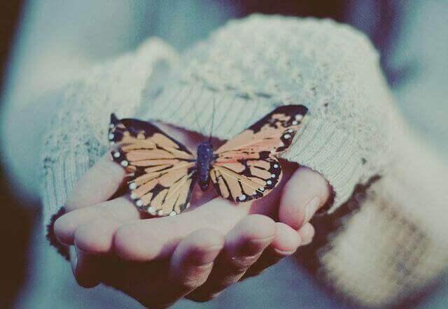 Πεταλούδα σε γυναικεία χέρια συναισθηματικοί δεσμοί