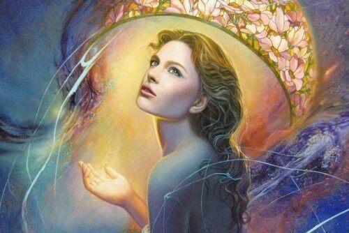 Γυναίκα κάτω από λουλουδένιο θόλο