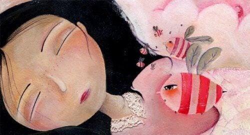 Κοπέλα που κοιμάται και ψάρι