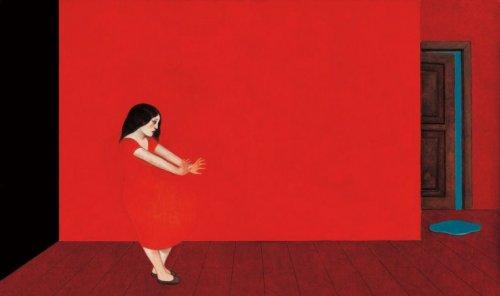 διακινητές ενοχής Γυναίκα και κόκκινοι τοίχοι