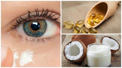 Φυσικό έλαιο καρύδας για να αναζωογονήσετε το περίγραμμα των ματιών