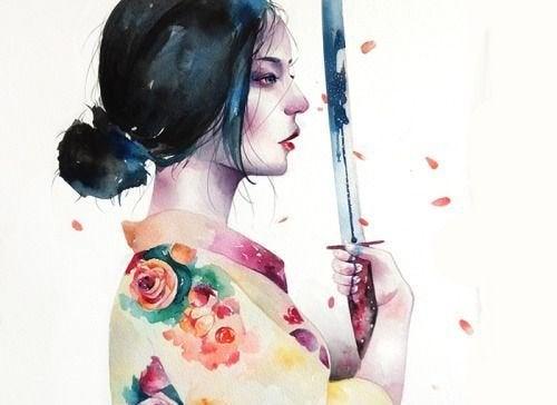 γυναίκα σαμουράι που κρατάει σπαθί κερδίσετε οποιαδήποτε διαφωνία