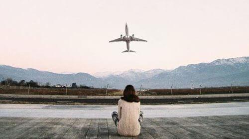 αεροπλάνο, κοπέλα, ουρανός