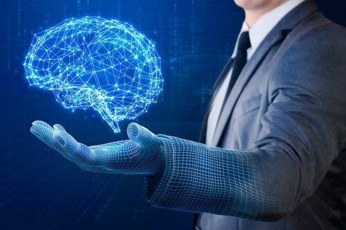 άντρας, χέρι- έναν υγιή εγκέφαλο