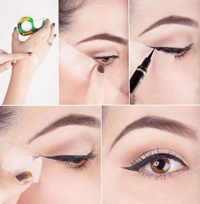 Εφαρμογή eyeliner, κολλητική ταινία