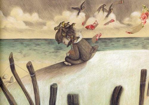 Συναισθηματικά πληγωμένο παιδί στην παραλία