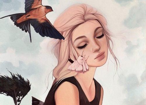 γυναίκα, πουλί, ουρανός- ψυχολογικού ανοσοποιητικού συστήματος
