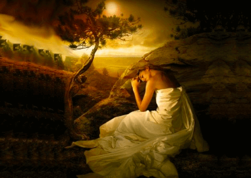 Πίνακας με γυναίκα στην εξοχή