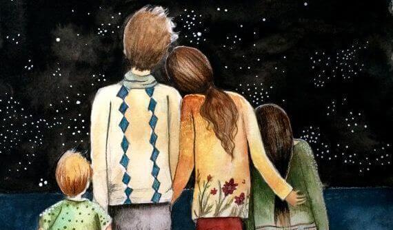 οικογένεια κοιτά τα αστέρια