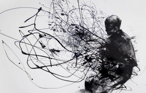 ζωγραφιά με άνδρα με μάυρο μελάνι