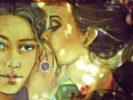 πίνακας με μια γυναίκα να λέει στο αυτί της αλλης μυστικό