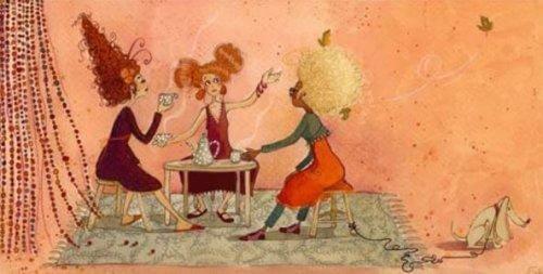 πίνακας με γυναίκες να πίνουν τσαι