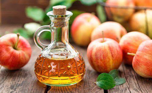 μηλόξυδο και μήλα ολόκληρα