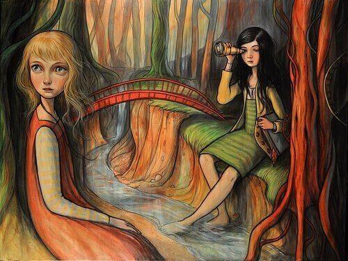 πίνακας με δύο κορίτσια σε ένα ποτάμι