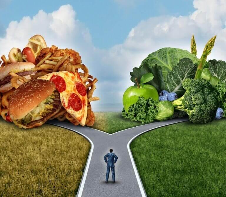 σταυροδρόμι με υγιεινά και τζανκ φαγητα