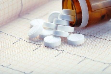 χάπια πάνω σε καρδιογράφημα- δύναμη της ασπιρίνης