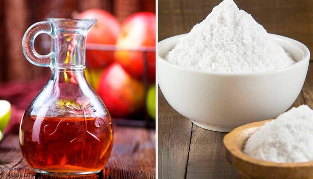 Θεραπείες με μαγειρική σόδα - Ξύδι σε δοχείο και μαγειρική σόδα σε μπολ
