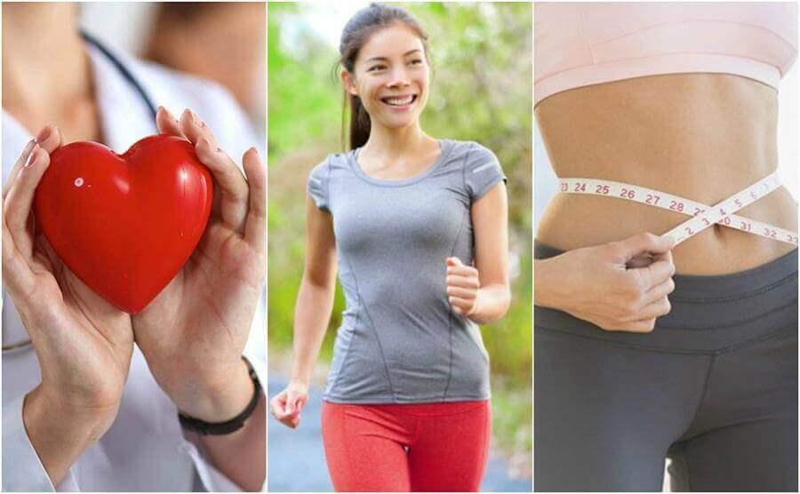 Ωφέλειες του καθημερινού περπατήματος - Γυναίκα κρατά καρδιά, γυναίκα περπατά και γυναίκα που μετρά το στομάχι της