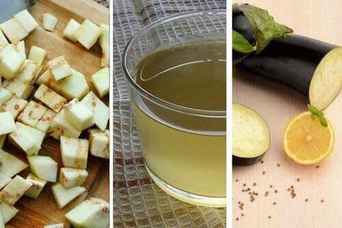 κομματάκια τετράγωνα μελιτζάνας, χυμός και μελιτζάνα κομμένη