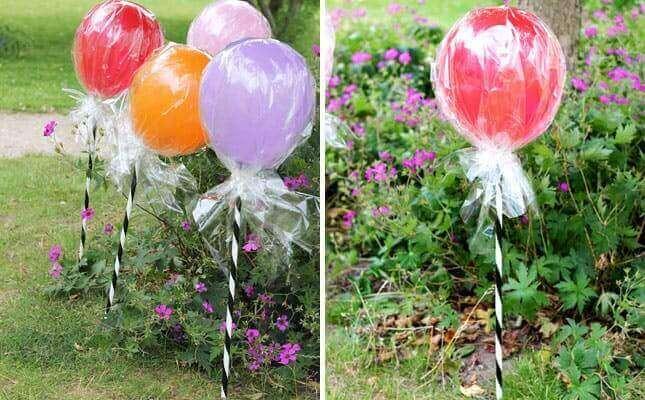 μπαλόνια με μπαστουνάκι και σελοφάν, σαν γλειφιτζούρια