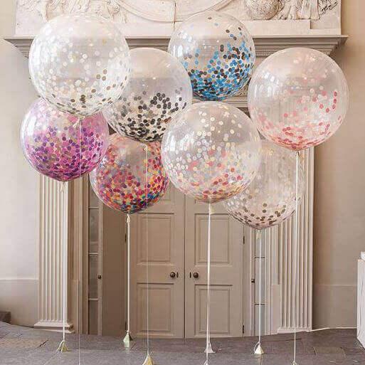 διαφανή μπαλόνια με κομφετί