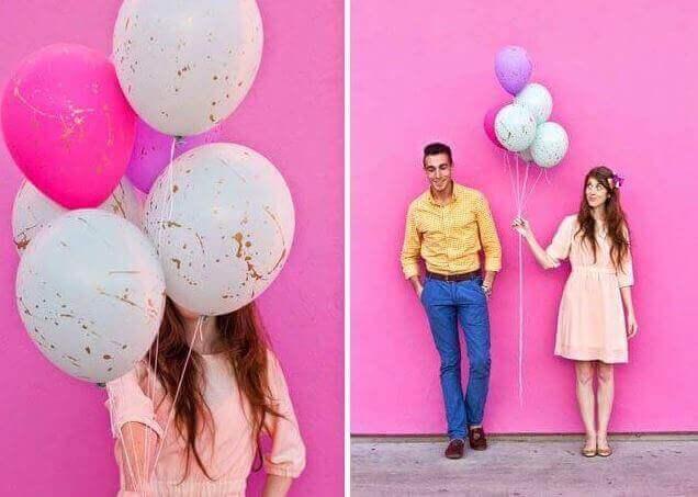 μπαλόνια με πιτσιλιές από χρώμα