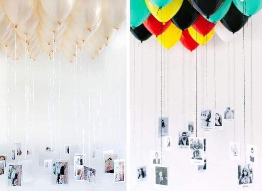μπαλόνια με κρεμαστές φωτογραφίες
