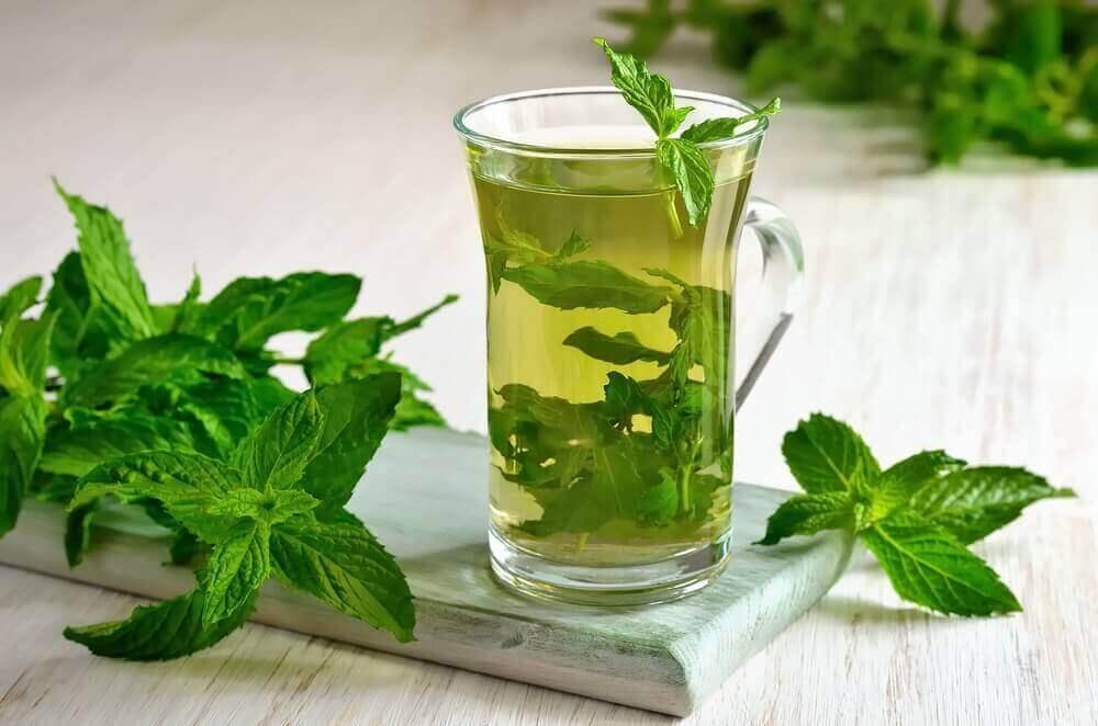 Τσάι μέντας σε ποτήρι