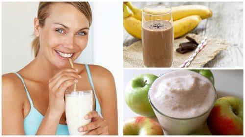 Διάφορα ροφήματα πρωτεΐνης και γυναίκα πίνει ρόφημα πρωτεΐνης