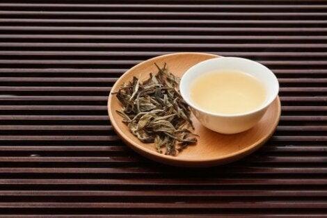 Λευκό τσάι σε μπολ και φύλλα τσαγιού