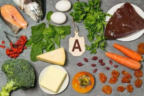 Διάφορα τρόφιμα με βιταμίνη Α