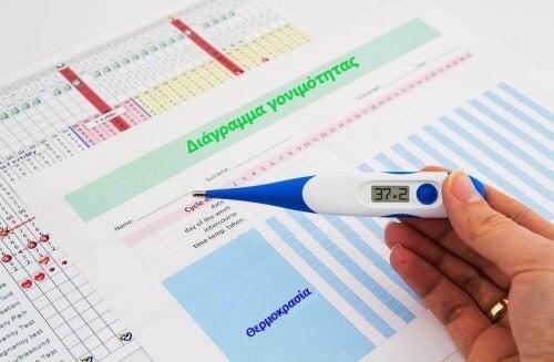 Άτομο κρατά θερμόμετρο