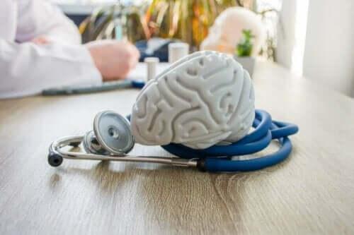 Πλαστικός εγκέφαλος και στηθοσκόπιο πάνω σε γραφείο και τσάι αγριαψιθιάς