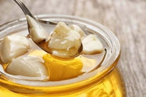 Σκόρδα και μέλι σε δοχείο